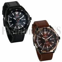 Mens Luxury INFANTRY Quartz Wrist Watch Analog Army Sport Black Brown Leather US