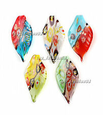 FREE Wholesale 6pcs Leaf Flower Lampwork Glass Pendants DIY Necklace
