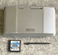 Nintendo DS Silver Launch Handheld Console w/ Mario Sonic Games & Stylus TESTED