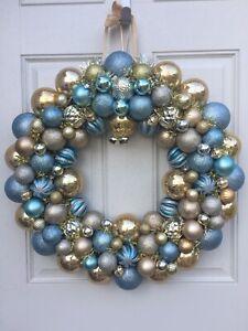 "Christmas Decorations Door Wreath Size 18"" Blue Ritz Carlton Inspired"
