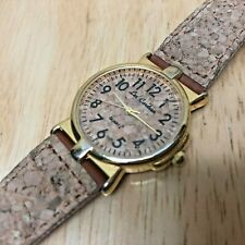 Vintage Lee Cardsen 18k Gold Plated Cork Band Dial Quartz Watch Hour~New Battery
