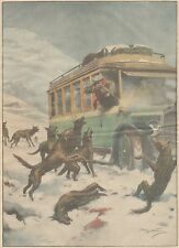 K0053 Moliterno - Auto poste assalito da branco di lupi - Stampa - 1930 print