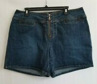 Venezia Shorts Blue Denim Womens Silver Zip Pockets Size 18