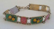 Vintage Andersen Style Norway Sterling Silver Enamel Guilloche Floral Bracelet