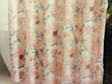 13 pc Fabric SHOWER CURTAIN~HOOKS~White Pink Gray Large Flowers Buds watercolor