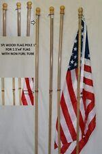 5 Foot Wooden Non Furl Tube Flag Pole Kit w/ 2.5'x4' USA American Flag NO MOUNT