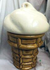 Vintage Ceramic Ice Cream Cone Cookie Jar