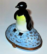 Limoges France Box ~ Artoria ~ Penguin On The Ice ~Fish Inside~ Le ~ Peint Main