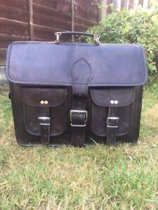 """Men's 15"""" goat leather messenger Real satchel bag genuine laptop BLACK briefcase"""