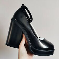 Asos black patent platform block heel mary jane ankle strap shoes 90s style 7