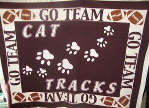 New!! CAT TRACKS Go Team Blanket/Throw Homemade Football Magenta