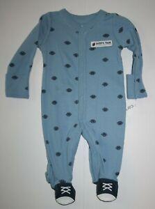 New Carter's Boys 3m Sleep n Play Pajamas Blue w Football Print Snaps Up Soft