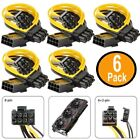 MogTech 6 PACK PCI-E Splitter 8-Pin Female to dual (6+2) Pin Male for Mining