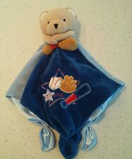 Okie Dokie Teddy Bear All Star Baseball Glove Blue Brown Lovey Security Blanket