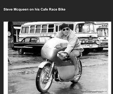 McQueen On His Cafe Race Bike While Filming The Sand Pebbles Car Poster:>)