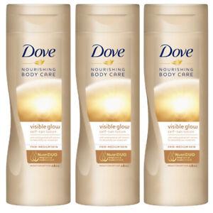 3 x Dove Visible Summer Glow Self Tan Body Lotion - Fair to Medium, 250ml