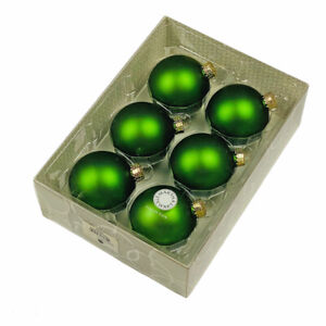 "Martha Stewart 2007 Macy's Exclusive 2.5"" Green Matte Glass Ornaments Set of 6"
