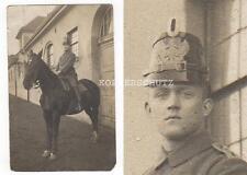Original Portrait Foto Soldat auf Pferd mit Tschako 1.WK