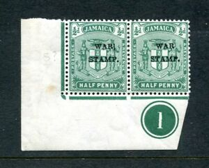 """Jamaica 1916 ½d blue-green SG70 mint corner pair plate 1 & faulty """"S"""" in """"STAMP"""""""
