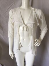 LeTarte Handmade White 100% Nylon Flowy Crochet Lace Cover-up Cardigan Top XS