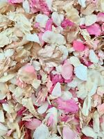 1ROSE GOLD, Pink, Ivory Dried Biodegradable Wedding Confetti. Real Flower Petals