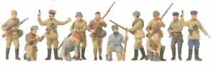 Russian Infantry Men & Partisans (12). Preiser  16530 Unfinished Plastic Kit 1/8