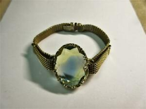 Vintage 1950's Well Cut CITRINE gold gilded 7.5 inches long BRACELET!
