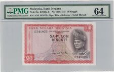 Malaysia 1967 1st series Sa-puloh RM10, Solid Thread (UNC, PMG 64)