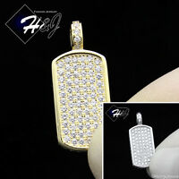 925 STERLING SILVER ICED OUT BLING SILVER/GOLD SMALL DOG TAG CHARM PENDANT*SP56