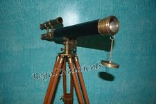 Marine Nautical Navy Brass Double Barrel Telescope With Wooden Tripod Stand