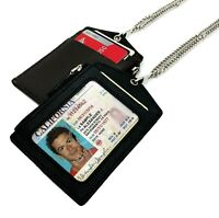 Genuine Leather ID Badge Holder Name Tag Lanyard Card Zippered Wallet Neck Chain