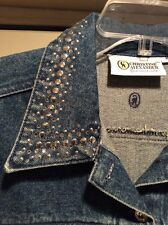 NWT Christine Alexander Silver Sprinkle Jacket W/ Swarovski Crystals M