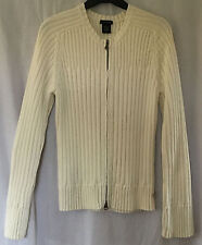 Calvin Klein Ladies Cream Collarless Cotton Zipped Cardigan, size Large (14-16)