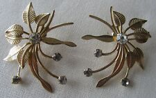 pin earrings with rhinestones Vintage gold tone oversize flowers