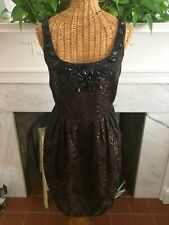 Carmen Marc Valvo Collection Brown Bronze Cocktail Dress 8