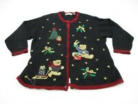VICTORIA JONES K2063 Women Size 2X Embroidered Teddy Christmas Cardigan Sweater
