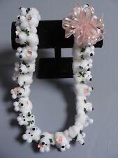 Hawaiian White Teddy Bear Pom Pom Lei Graduation Gift maile asst flowers