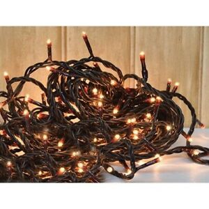 100 Ct Count Teeny Rice Clear Bulbs Brown Wire Cord Light Set String Primitive