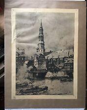 LUIGI KASIMIR 1881 - 1962 HAMBURG - HAFEN MIT SCHLEPPER - ST. KATHARINENKIRCHE