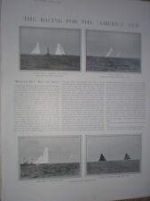 America Cup Yacht race Columbia beats Shamrock II 1901 old prints my ref T