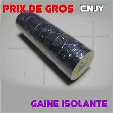 10 ROULEAU DE GAINE BANDE TOILE ISOLANTE NOIR 19mm x 0.13mm x 10 Metres adhesive
