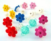 Flower Earrings made with LEGO flowers wedding studs post silver plated bricks