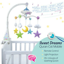 More details for moon & stars islamic quran cot mobile with light projection (desi doll)