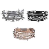 Fashion Women Multilayer PU Leather Magnet Buckle Wrap Charm Bracelet Jewelry