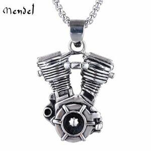 MENDEL Mens Motorcycle Engine Necklace Biker Pendant Heavy Stainless Steel Punk