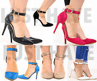 Womens Ladies High Heel Pointed Toe Ankle Strap Sandals Court Shoes UK Size 3-8