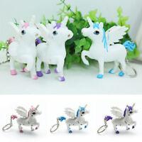 Unicorn LED Light Up Sound Pendant Keyring Key chain Keyfob Bag Dangling Gift