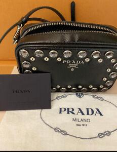 PRADA Borchie Embellished Mini Camera Bag  Black Leather . As New . Dust Bag Inc