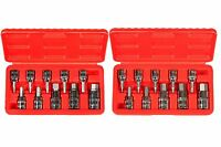 "20pc 3/8"" & 1/2"" Drive Hex Key Allen Head (METRIC & SAE) Socket Bit Set w/ Case"