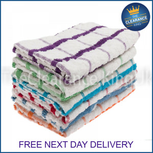 QUALITY 3 PACK TEA TOWELS THICK 100% COTTON TERRY CLOTHS LARGE SIZE ABSORBENT